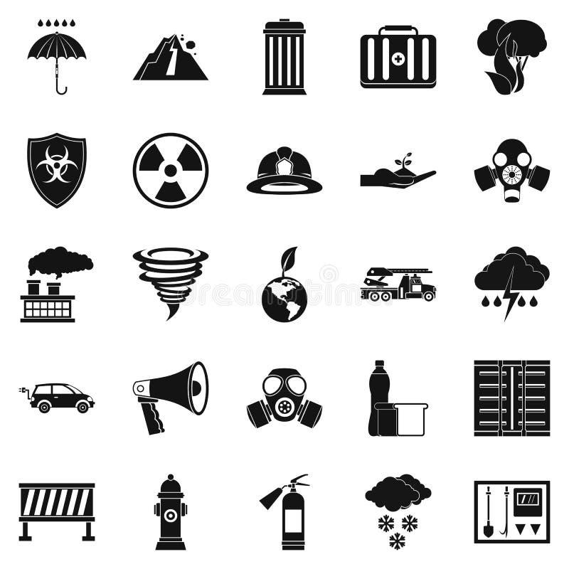 Unieszczęśliwienie ikony ustawiać, prosty styl ilustracja wektor