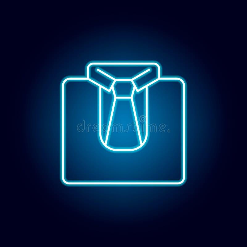 Uniform, Bindung, Hemdentwurfsikone in der Neonart Elemente der Ausbildungsillustrationslinie Ikone Zeichen, Symbole können für N stock abbildung