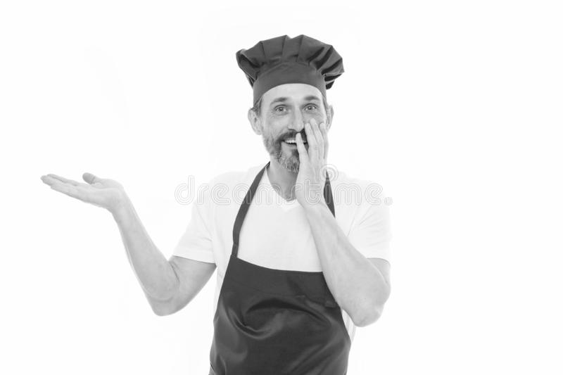 Uniform for cooking. Chef in restaurant. Cooking is my hobby. Learn cooking. Welcome to my kitchen. Current menu concept royalty free stock photos