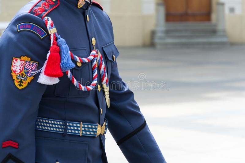 Uniform of the guard of Prague Castle stock photography