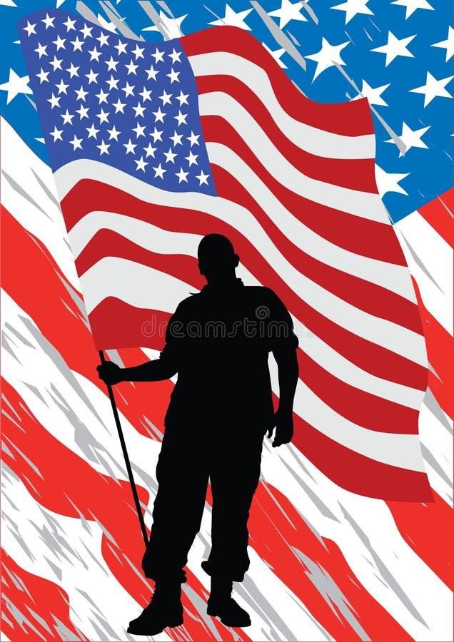 Uniform man six. Soldier in uniform with american flag royalty free illustration