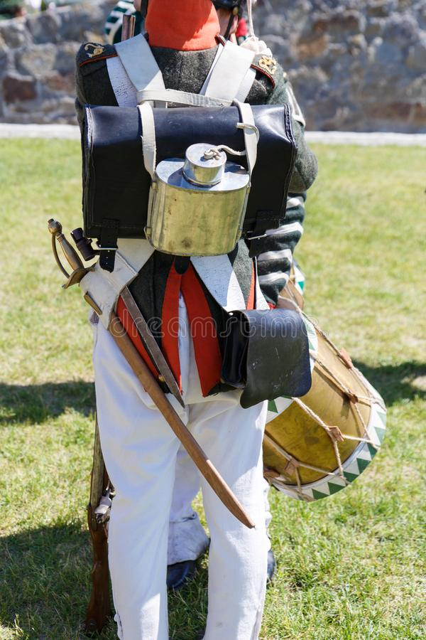 Uniform of soldiers during the Russian-French war of 1812. The guns and drums of 1812 stock images