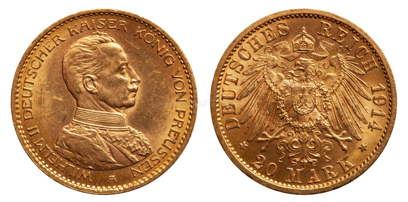 Uniforme alemão do ouro 1914 de Mark Wilhelm II do império 20 fotos de stock royalty free