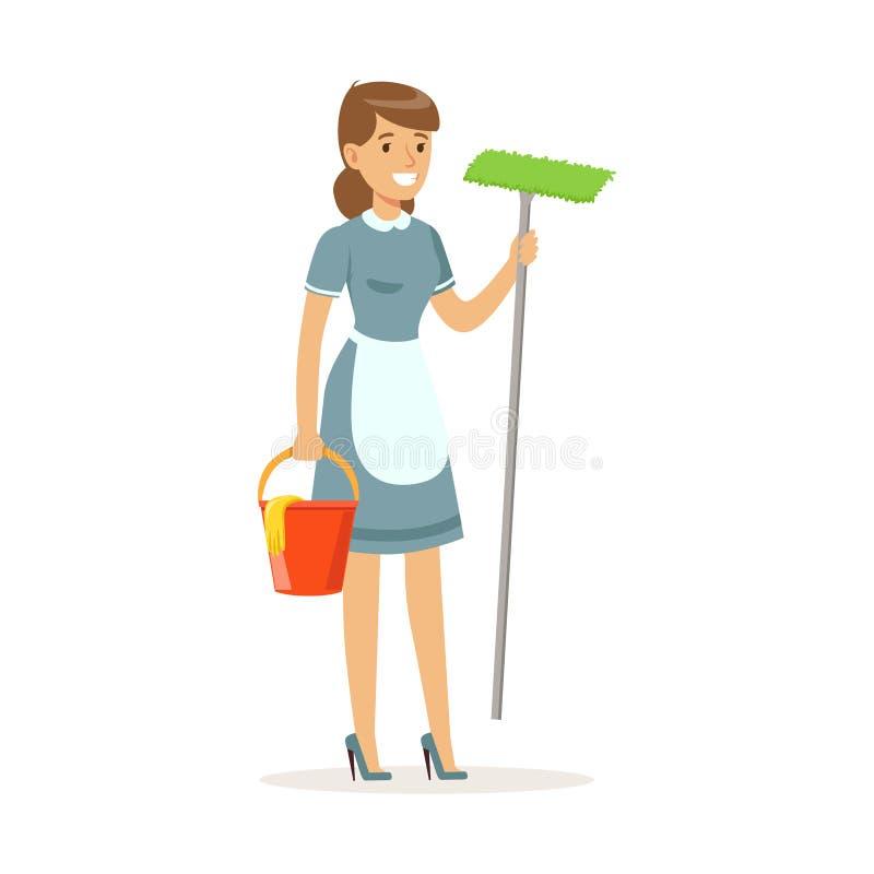 Uniforme d'uso del carattere allegro della domestica che sta con il secchio e la zazzera, servizio di pulizia dell'illustrazione  illustrazione di stock