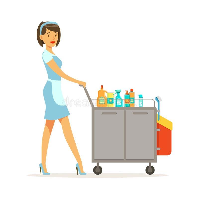 Uniforme d'uso del carattere della domestica che spinge il carretto del portiere in pieno dei rifornimenti e delle attrezzature,  illustrazione vettoriale