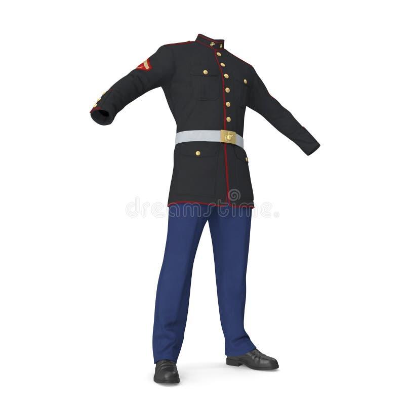 Uniforme da parada de E.U. Marine Corps Isolated na ilustração branca do fundo 3D ilustração royalty free