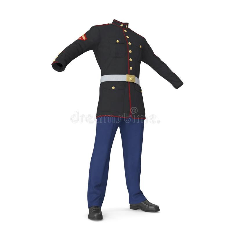Uniforme de défilé des USA Marine Corps Isolated sur l'illustration blanche du fond 3D illustration libre de droits