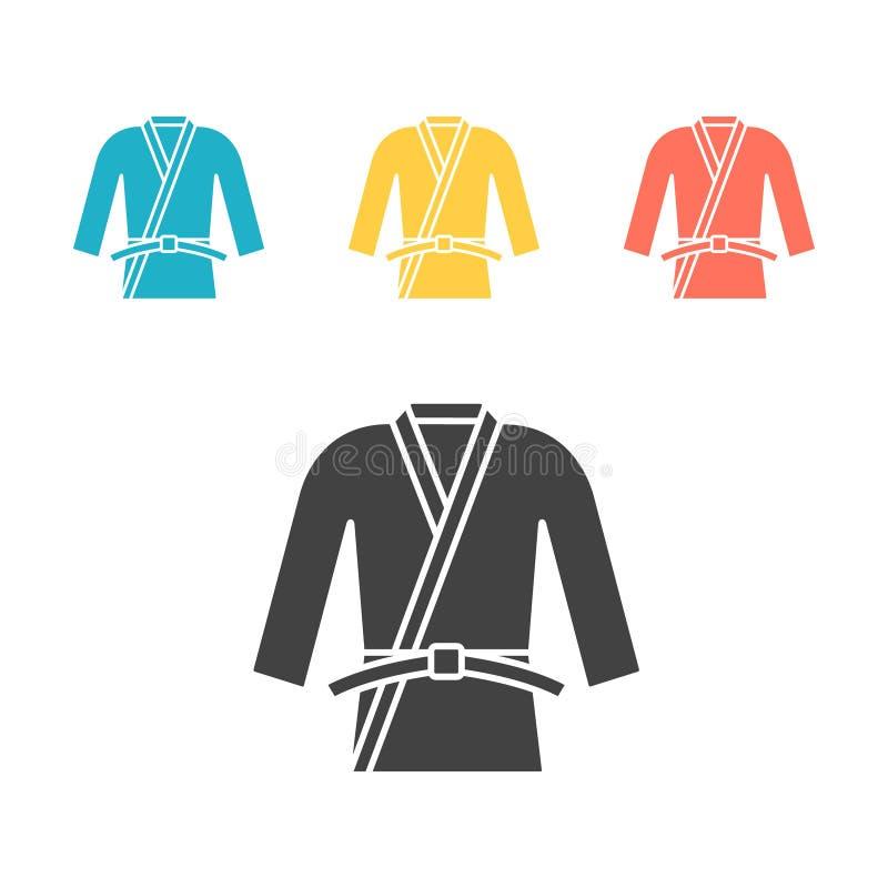Uniforme de karaté ou de judo Icône de kimono Signes de vecteur pour le Web illustration libre de droits