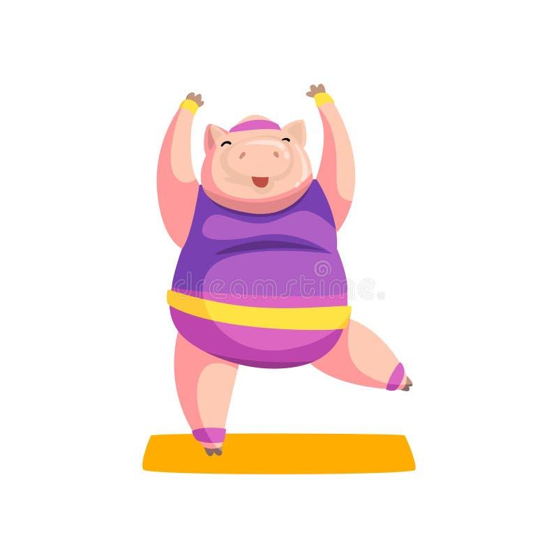 Uniforme de port de pratique de sports d'exercice de yoga de porc mignon, caractère animal folâtre, forme physique et mode de vie illustration de vecteur