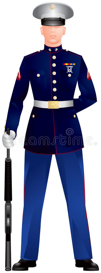 Uniforme de robe bleu marin de Corp. des USA illustration stock