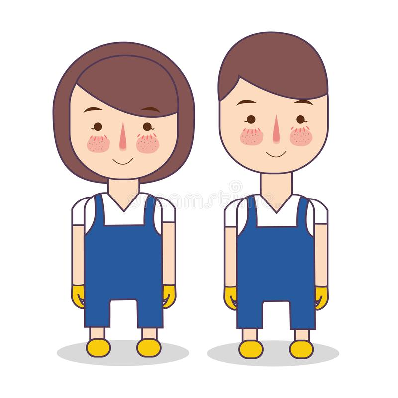 Uniforme de serviço de limpeza Ilustração da roupa azul vestindo da manutenção do pessoal e de luvas amarelas Empregada do hotel ilustração stock