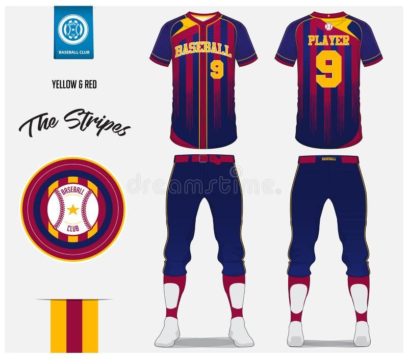 Uniforme del béisbol, jersey del deporte, deporte de la camiseta, cortocircuito, plantilla del calcetín Mofa de la camiseta del b stock de ilustración