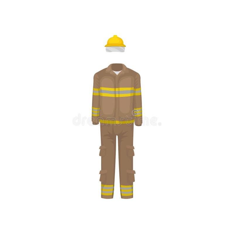 Uniforme del bombero Casco amarillo, chaqueta marrón y pantalones con las rayas Ropa protectora del bombero Vector plano libre illustration