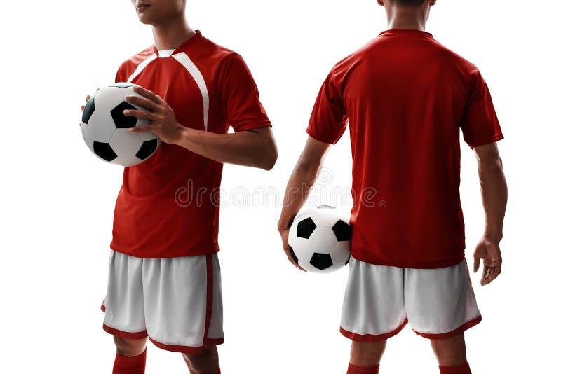 Uniforme del jugador de fútbol en el fondo blanco imagenes de archivo