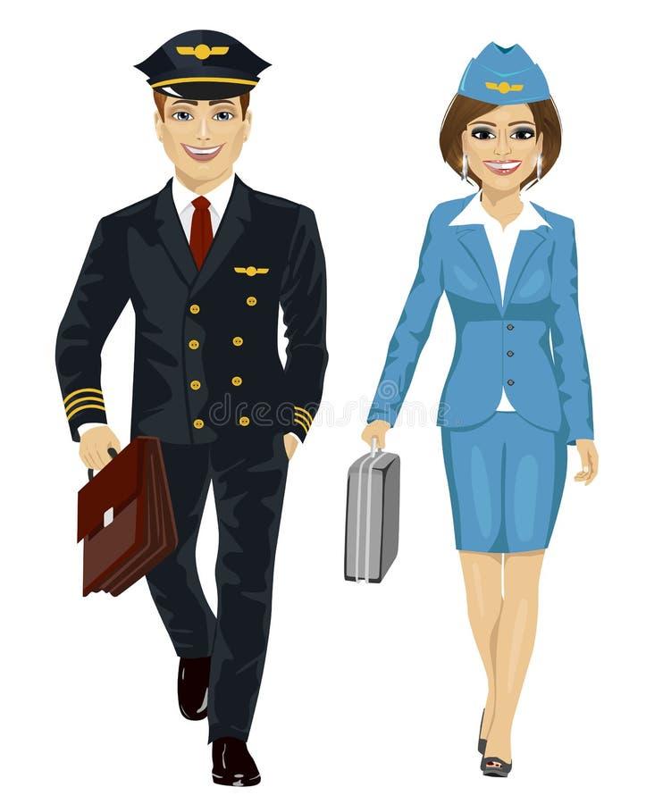 Uniforme del piloto de la línea aérea del hombre hermoso y presentadora de aire que llevan que camina con los casos del vuelo stock de ilustración