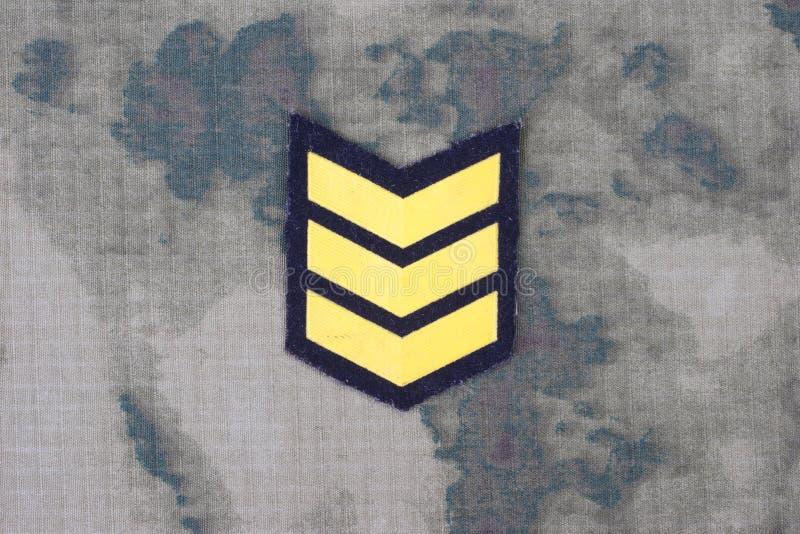 Uniforme dell'esercito con la vegetazione lussureggiante di sergente fotografie stock libere da diritti