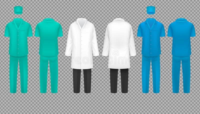 Uniforme di medico, cappotto dell'infermiere dell'ospedale e vestito del chirurgo, insieme di vettore della camicia del laborator royalty illustrazione gratis