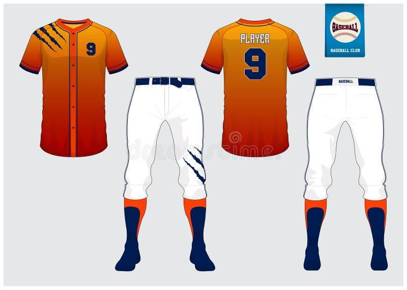 Uniforme do basebol, jérsei do esporte, esporte do t-shirt, curto, molde da peúga Zombaria do t-shirt do basebol acima Uniforme d ilustração stock