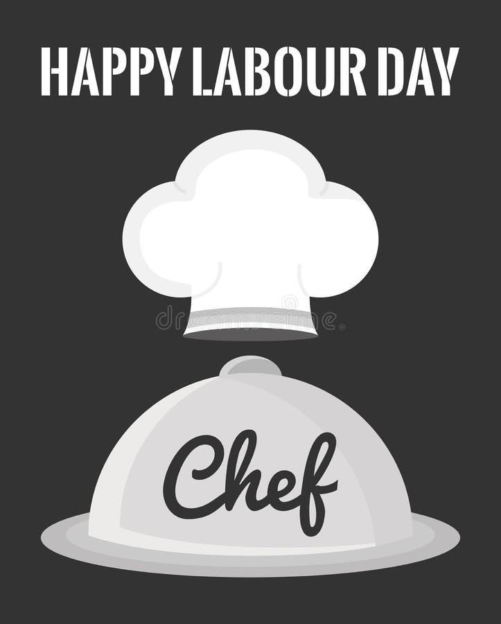 Uniforme do chapéu do cozinheiro chefe com servidor da bandeja ilustração royalty free