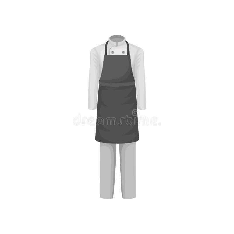 Uniforme do cozinheiro do cozinheiro chefe do restaurante Revestimento branco, calças e avental cinzento Roupa do trabalhador da  ilustração royalty free