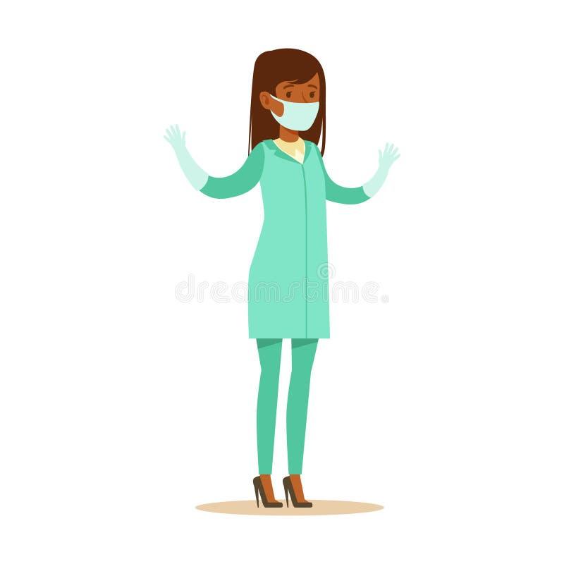 Uniforme do doutor Wearing Medical Scrubs do cirurgião da mulher que trabalha na peça do hospital da série de especialistas dos c ilustração royalty free
