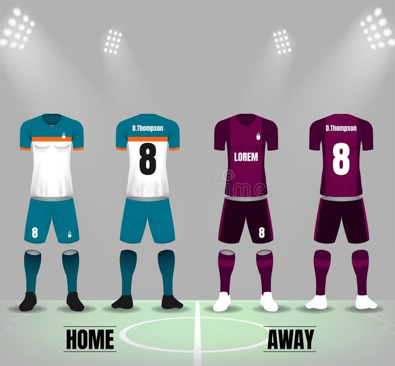 Uniforme do futebol no molde da parte dianteira e do verso ilustração royalty free