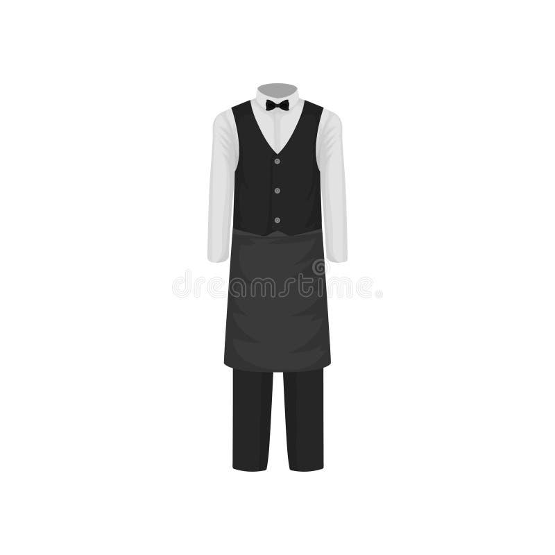 Uniforme do garçom Camisa com laço, veste, calças e avental Roupa do trabalhador do restaurante Projeto liso do vetor ilustração royalty free