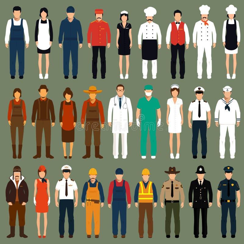 Uniforme dos povos da profissão, ilustração do vetor