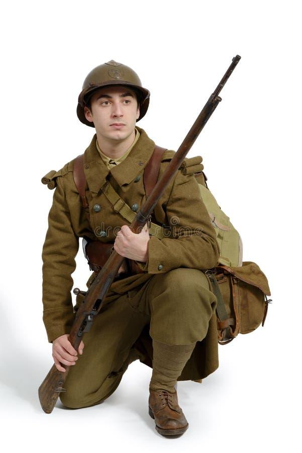 Uniforme français du ` s de soldat en 1940 photographie stock libre de droits