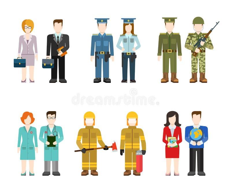 Uniforme liso das profissões: exército, polícia, doutor, bombeiro, professor ilustração do vetor