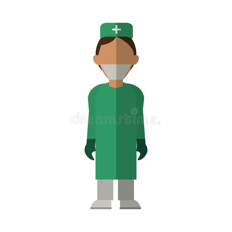 Uniforme médico vestindo da roupa do doutor do cirurgião ilustração stock