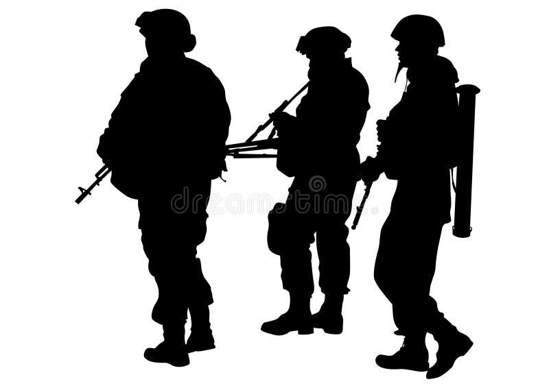 Uniforme quatro dos soldados ilustração do vetor