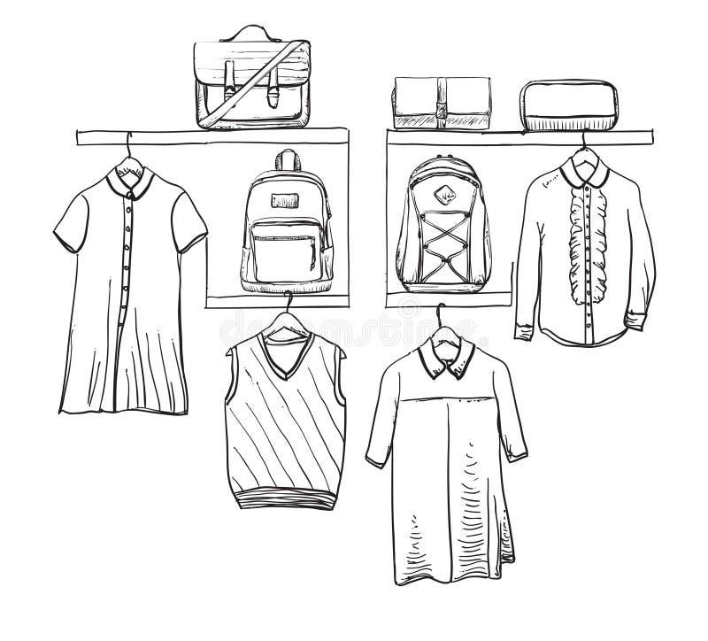 Uniforme scolastico Vestiti sul gancio fagotto illustrazione di stock