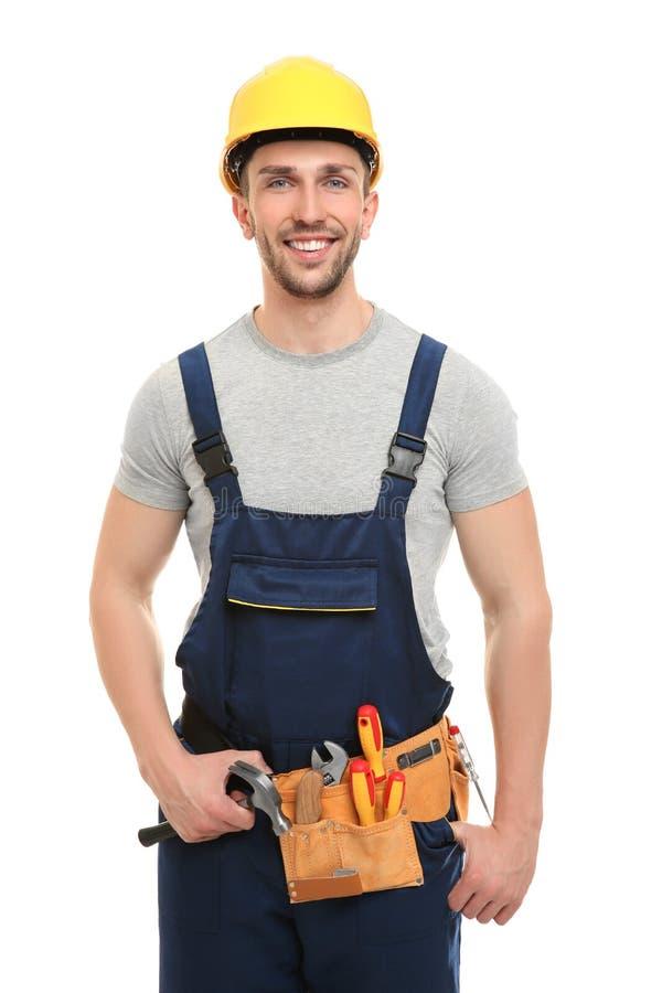 Uniforme vestindo do carpinteiro novo imagem de stock royalty free