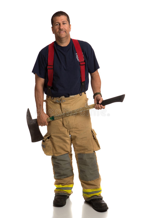 Download Uniformed Firefighter Holding Ax Standing Portrait Stock Image - Image: 26152465