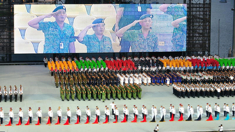 Download Uniformed Groups Standing At Attention At NDP 2011 Editorial Photo - Image: 19994171