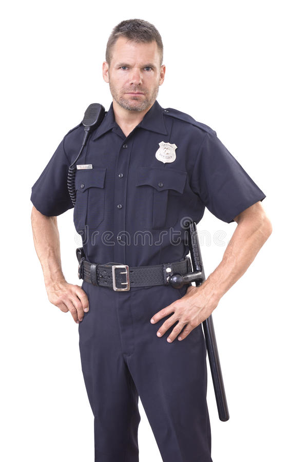 Free Uniformed Police Officer On White Background Stock Photography - 76387912