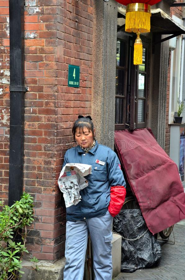 Download Street Cleaner Reads Newspaper Shanghai China Editorial Stock Photo - Image: 30096698