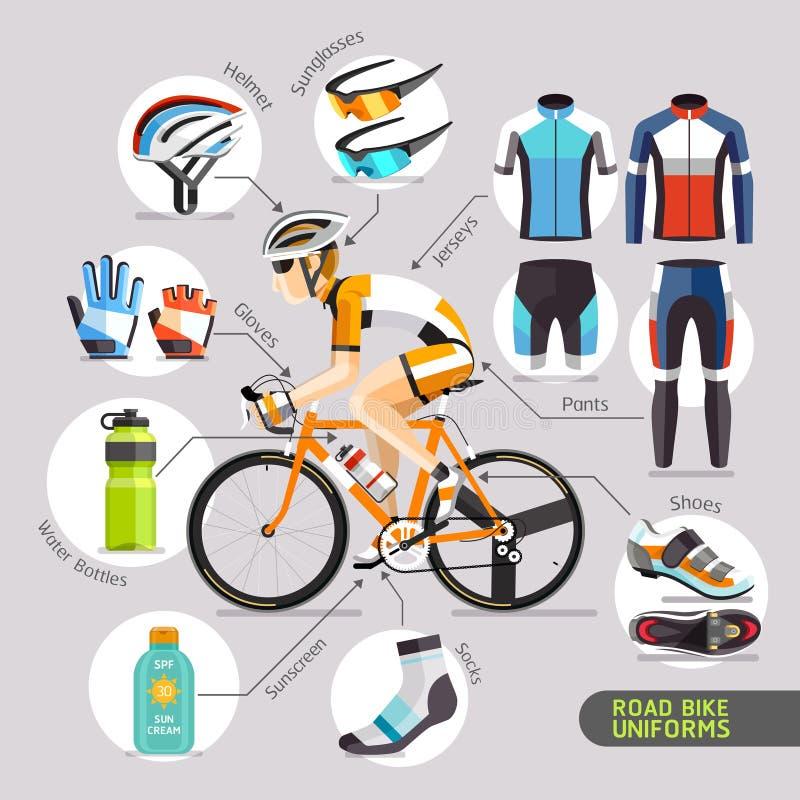 Uniformes de vélo de route illustration stock