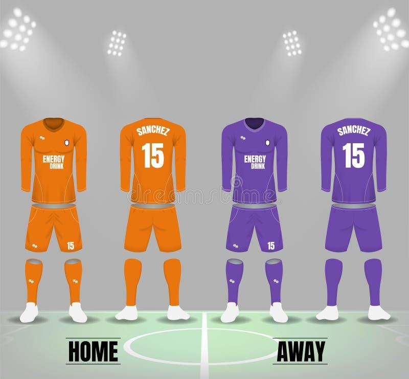 Uniformes du football dans le ton orange et pourpre pour la maison et l'équipe des visiteurs illustration de vecteur