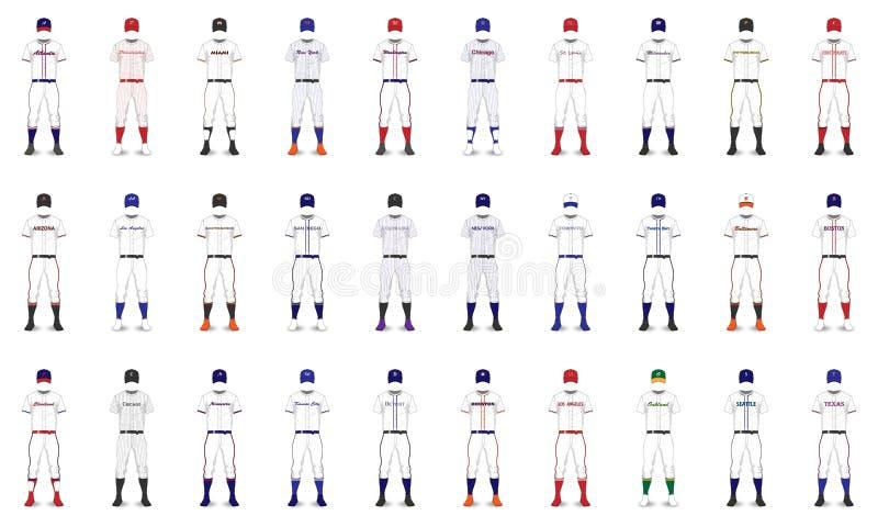 Uniformes genéricos del béisbol americano de las ciudades ilustración del vector