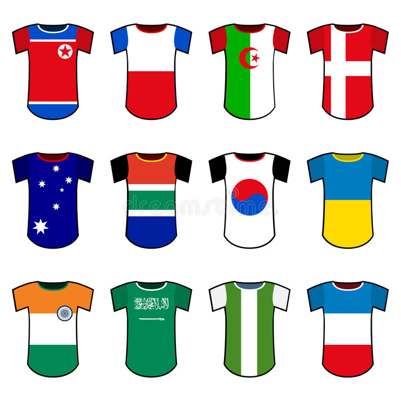 Uniformes nationaux du football de vecteur illustration de vecteur