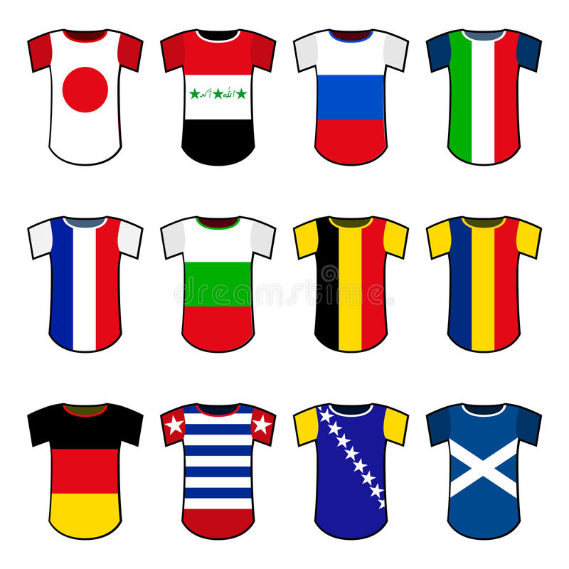 Uniformes nationaux du football de vecteur illustration libre de droits