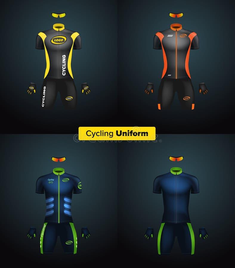 Uniformes realísticos do ciclismo do vetor Modelo de marcagem com ferro quente ilustração stock