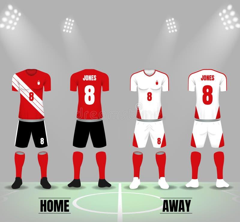Uniformes rouges et blancs du football avec des chaussettes et des chaussures illustration libre de droits