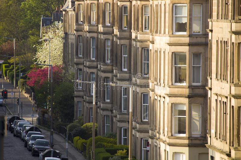 Uniformity of houses in Britain, Scotland. Picture at Comely Bank Ave. Comely Bank is an area of Edinburgh, the capital of Scotland. It lies southwest of Royal royalty free stock image