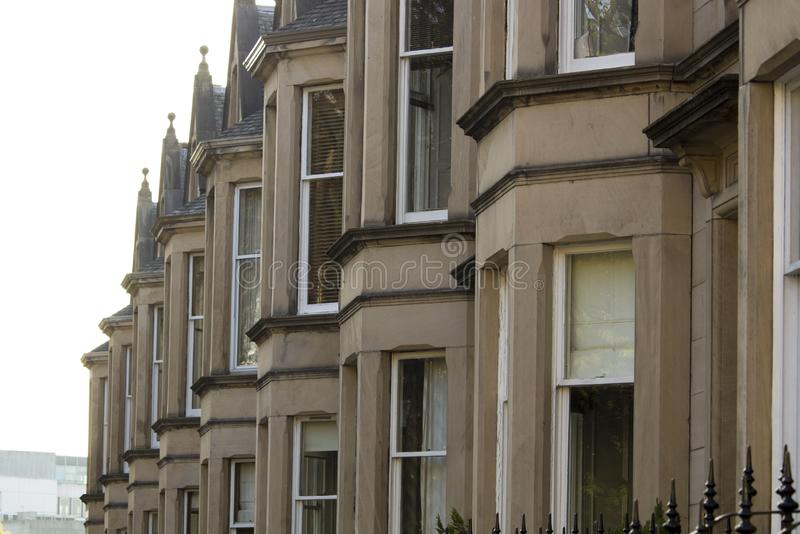 Uniformity of houses in Britain, Scotland. Picture at Comely Bank Ave. Comely Bank is an area of Edinburgh, the capital of Scotland. It lies southwest of Royal stock photos