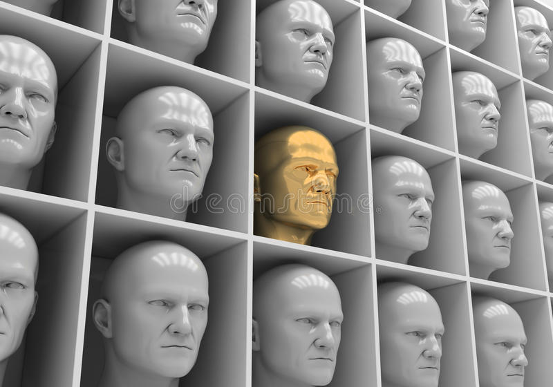Uniformity. Many of the same people's heads in boxes. Uniformity, humanity, solitude stock photography