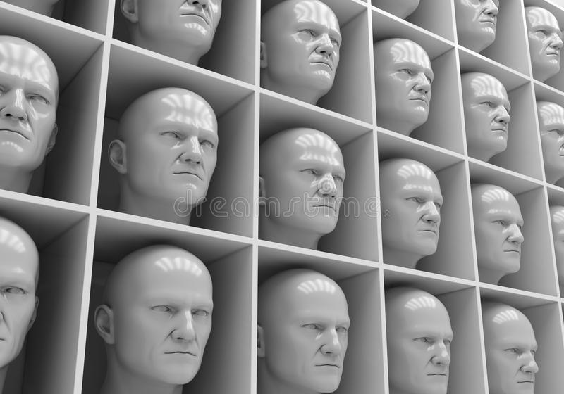 Uniformity. Many of the same people's heads in boxes. Uniformity, humanity, solitude stock images