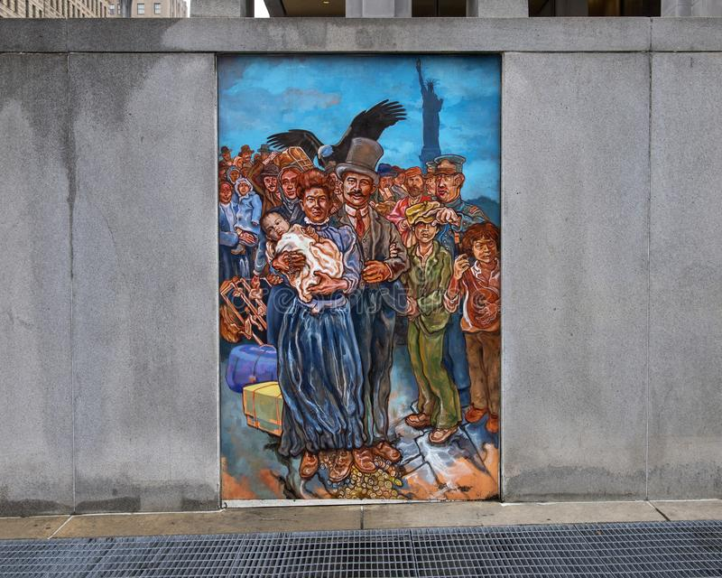 Unifying the Cultures of Neighborhood in Philadelphia, mural by Joseph and Gabriele Tiberino. Pictured is one of a series of five murals entitled `Unifying the royalty free stock image
